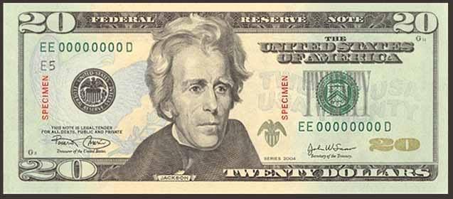 Doların üstündeki adam, Amerikan Doları Üzerindeki Adamlar Kimdir, Doların üzerindeki insanların isimleri nelerdir, Dolar üzerindeki amerikan başkanları, 20 Amerikan Doları, Andrew Jackson