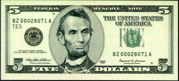 Doların üstündeki adam, Amerikan Doları Üzerindeki Adamlar Kimdir, Doların üzerindeki insanların isimleri nelerdir, Dolar üzerindeki amerikan başkanları, 5 Amerikan Doları, Abraham Lincoln
