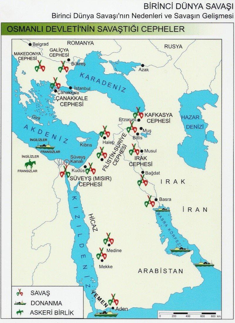 atatürkün savaştığı cepheler haritası