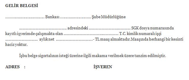 banka gelir belgesi örneği