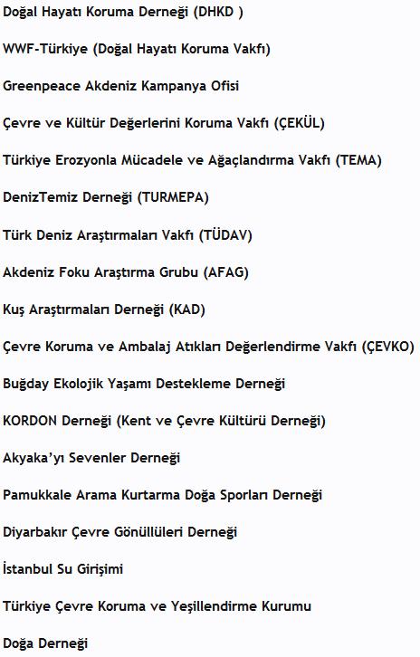 çevre vakıf ve derneklerinin listesi