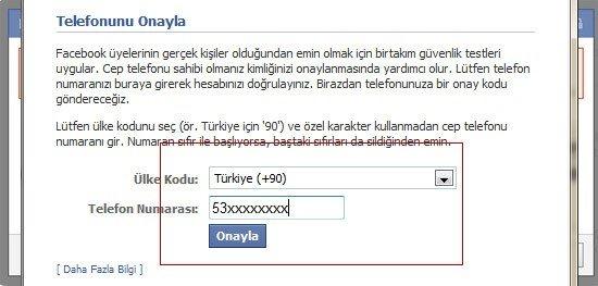 facebook telefon onayı