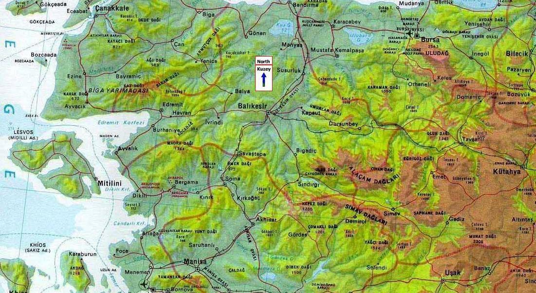 marmara bölgesi fiziki haritası