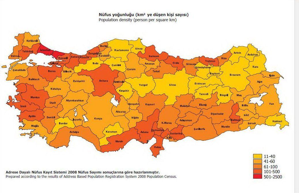 seyrek nüfus haritası