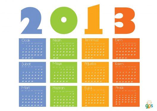 2013 aylık takvim