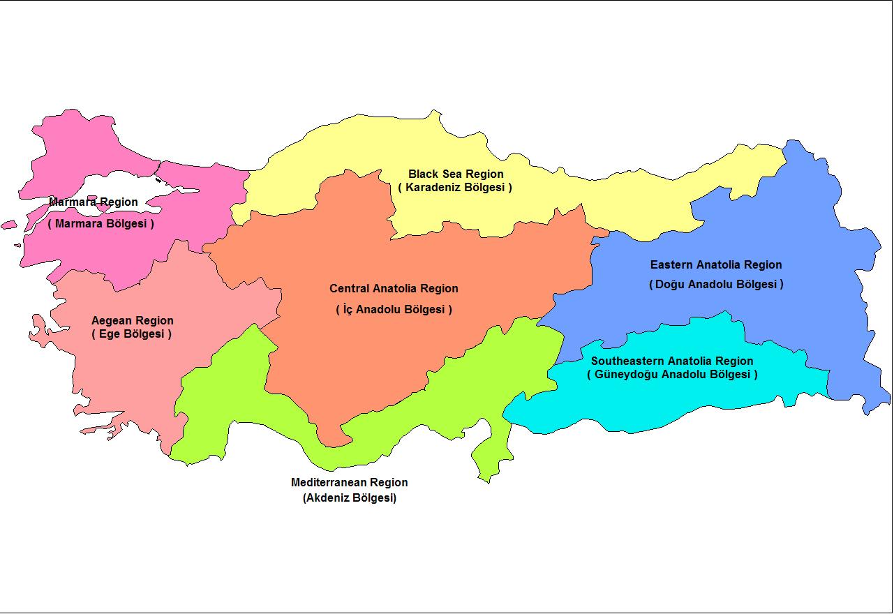 Türkiye Bölgeler Haritası, Türkiye Haritası Bölgeler, Ayrıntılı Türkiye Coğrafi Bölgeler Haritası